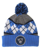 Brooklyn Nets Beanie Mitchell & Ness Powder Blue Argyle Cuffed Pom Knit Hat