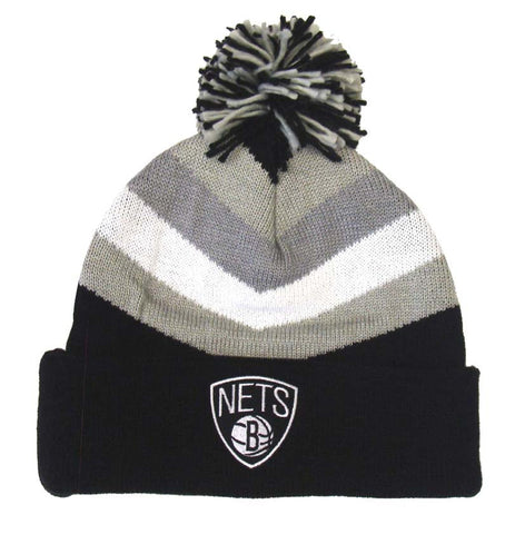 Brooklyn Nets Mitchell & Ness V Stripe Cuffed Pom Knit Beanie
