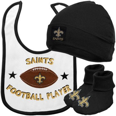 New Orleans Saints Infant 3pc Set Bib Cap & Booties 0-6 Months