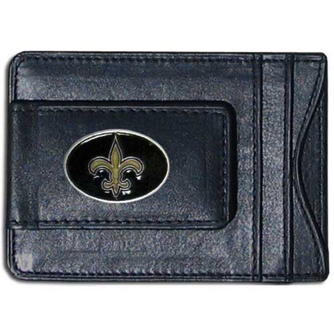 New Orleans Saints Magnetic Leather Card Holder Money Clip Wallet