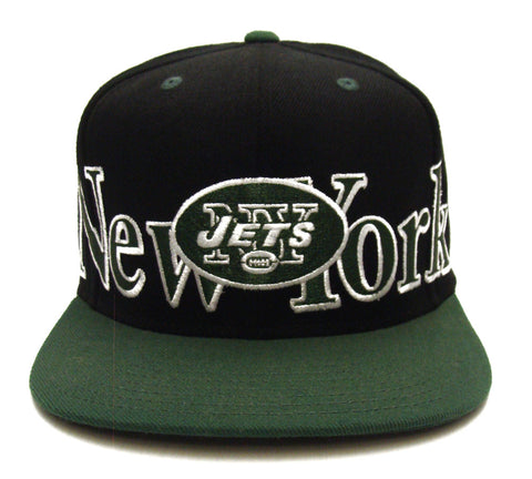 a2eaeeedd56e9 New York Jets Snapback Retro Big City Cap Hat 2 Tone Black Green