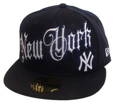 New York Yankees Fitted New Era 59Fifty Cap Life Old English Navy Cap Hat