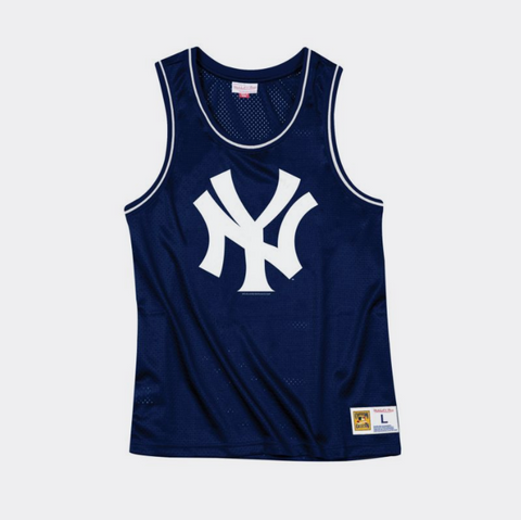 New York Yankees Mens Mitchell & Ness Mesh Tank Top Navy