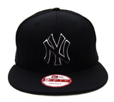 New York Yankees Snapback New Era Black Logo White Outline Cap Hat Black