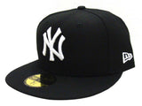 New York Yankees Fitted New Era 59Fifty White Logo Cap Hat Black