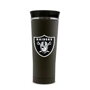 Oakland Raiders 18oz Stainless Steel Free Flow Tumbler Travel Mug Cup Black