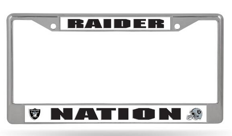 Oakland Raiders Chrome Auto Licensed Plate Frame Raider Nation