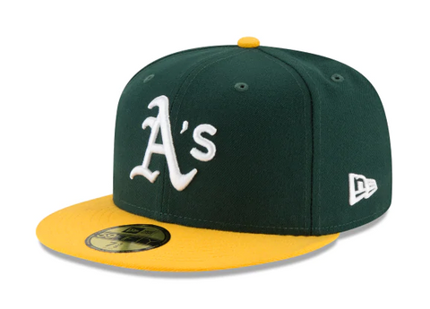 Oakland Athletics Fitted New Era 59FIFTY On Field Green Yellow Hat