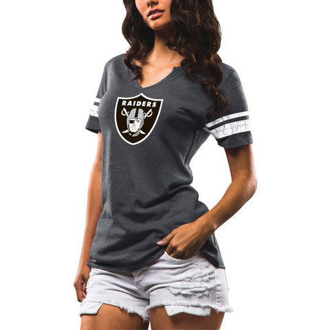 Oakland Raiders Womens T-Shirt Go For Two Majestic Charcoal