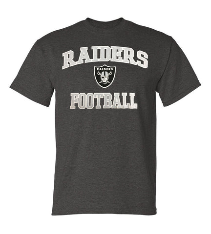 Oakland Raiders Mens T-Shirt Majestic Heart & Soul Football Charcoal