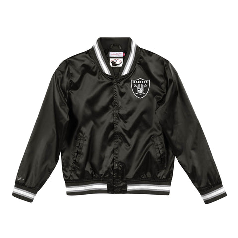Oakland Raiders Womens Jacket Mitchell & Ness Satin Lightweight Black