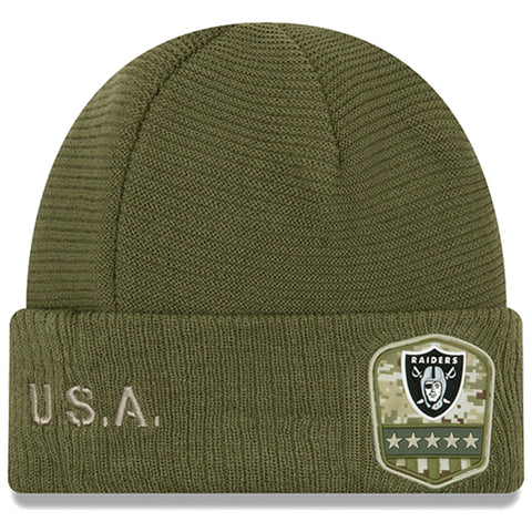 Oakland Raiders Beanie New Era 2019 Salute to Service Sideline Cuffed Knit Hat Cap
