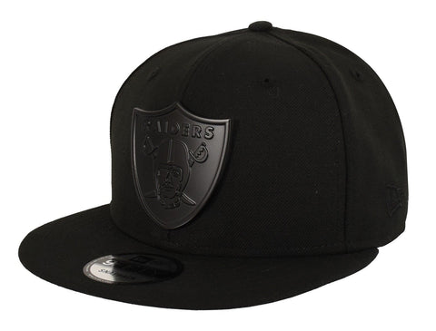 Oakland Raiders Snapback New Era 9Fifty Metal Shield Cap Hat Black on Black