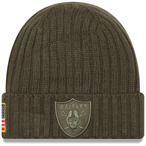 Oakland Raiders Beanie New Era Olive 2017 Salute To Service Cuffed Knit Hat