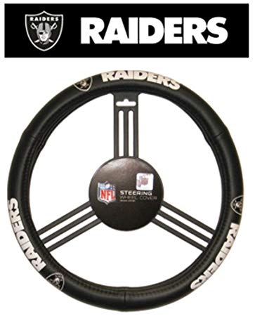 Oakland Raiders Auto Leather Steering Wheel Cover