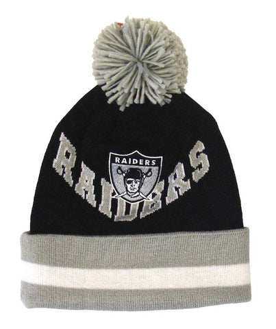 Oakland Raiders Beanie Mitchell   Ness V Question Cuffed Pom Knit Black Grey 60f594ae7