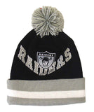 Oakland Raiders Beanie Mitchell & Ness V Question Cuffed Pom Knit Black Grey