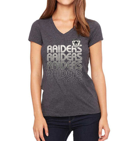 Oakland Raiders Womens T-Shirt Majestic Repeat Logo V-Neck