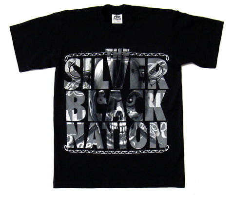 Oakland Raiders Mens T-Shirt Silver & Black Nation Black