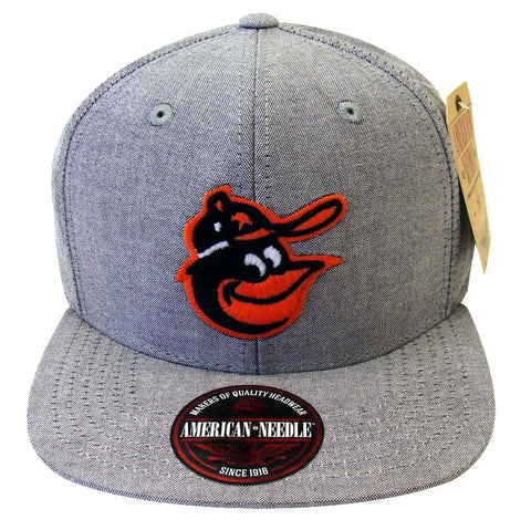 Baltimore Orioles Strapback Snapback Style American Needle Sound Denim Hat Grey