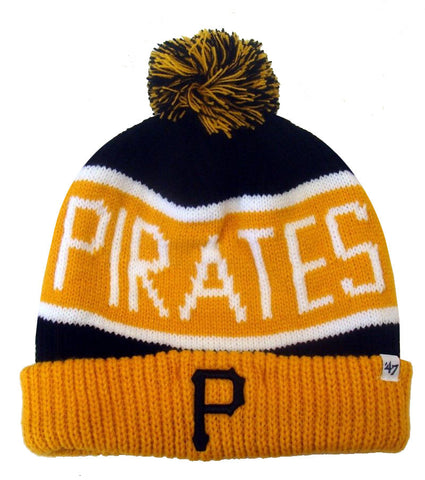 Pittsburgh Pirates '47 BRAND Calgary Pom Top Cuff Knit Hat Beanie Black Yellow