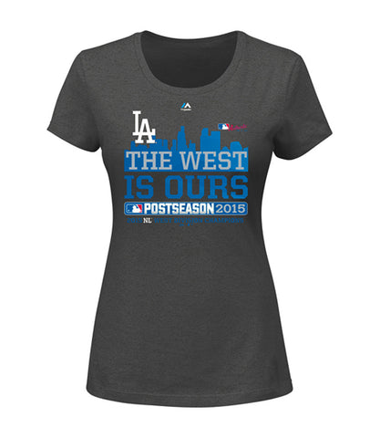 Los Angeles Dodgers Womens T-Shirt 2015 NL West Division Champions Charcoal