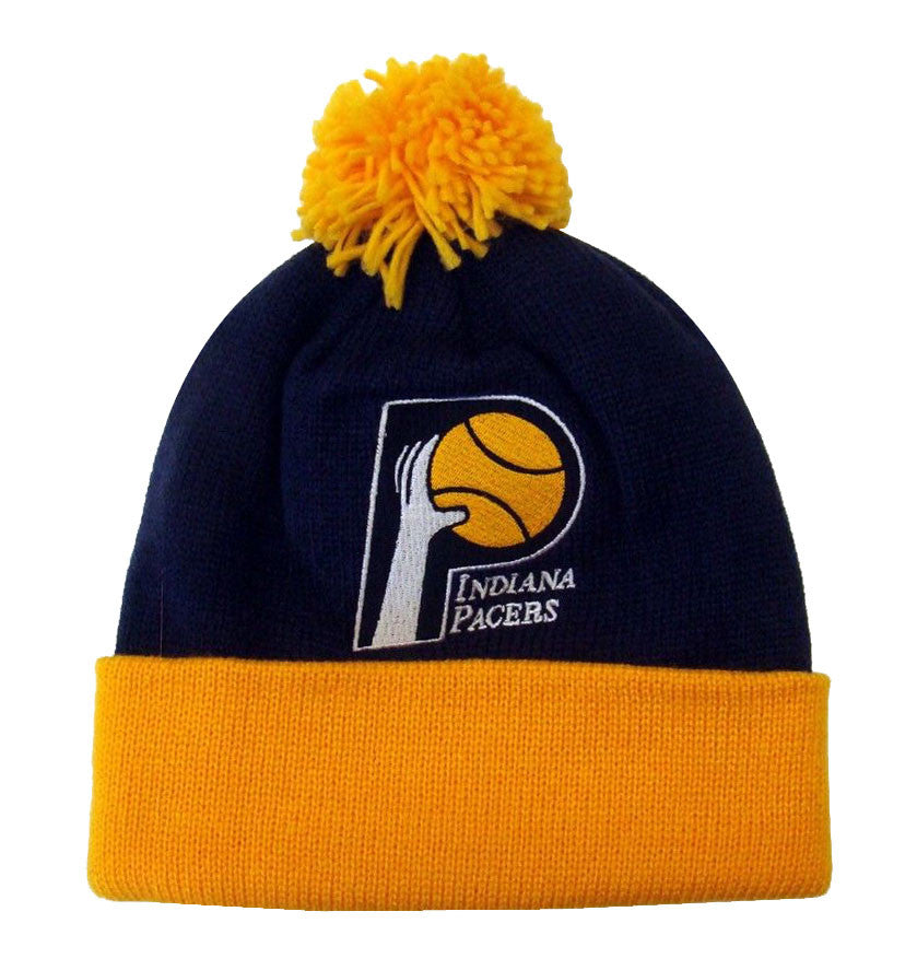 3020c975a Indiana Pacers Mitchell & Ness Pom Top Cuff Knit Hat Cap Beanie Blue Yellow