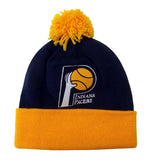 Indiana Pacers Mitchell & Ness Pom Top Cuff Knit Hat Cap Beanie Blue Yellow