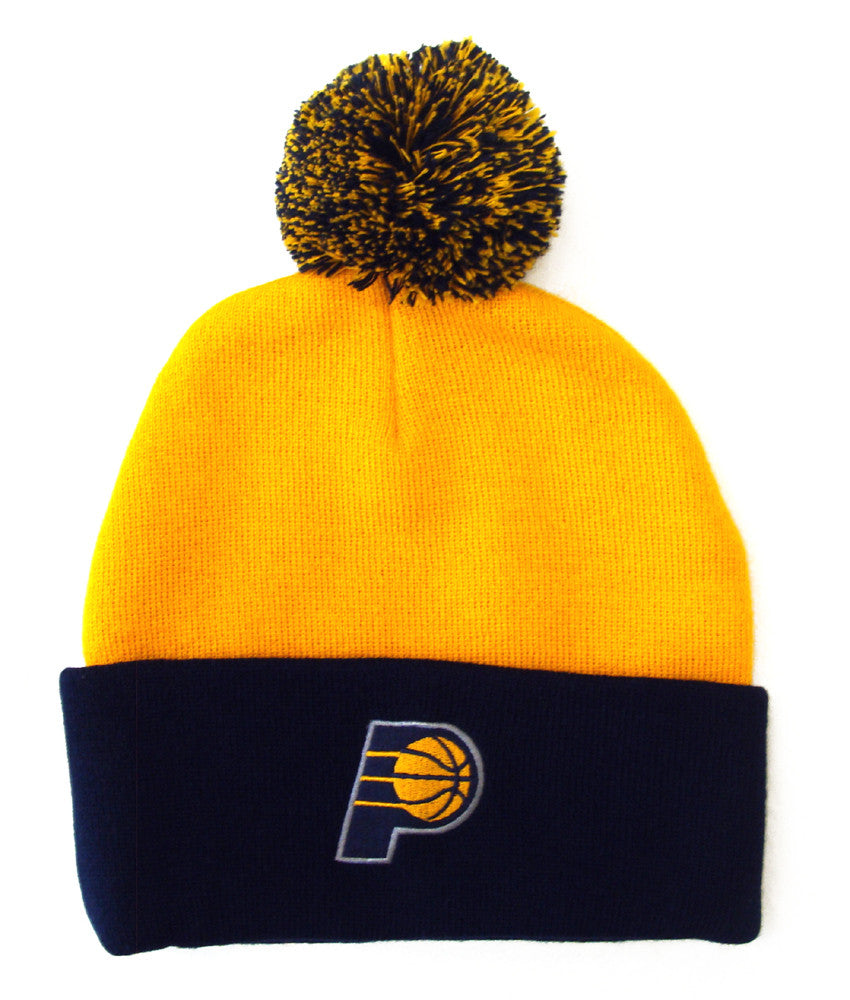 Indiana Pacers Beanie Embroidered Pom Fold Cap Yellow Navy – THE 4TH ... 6a57be1c3df