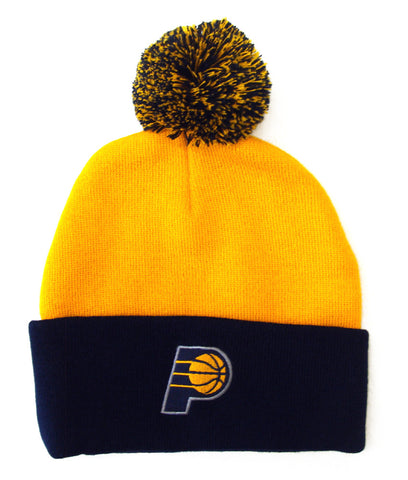 Indiana Pacers Beanie Embroidered Pom Fold Cap Yellow Navy
