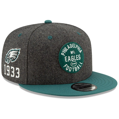 Philadelphia Eagles Snapback New Era 9Fifty 2019 Sideline 1930s Hat Cap Heather Charcoal