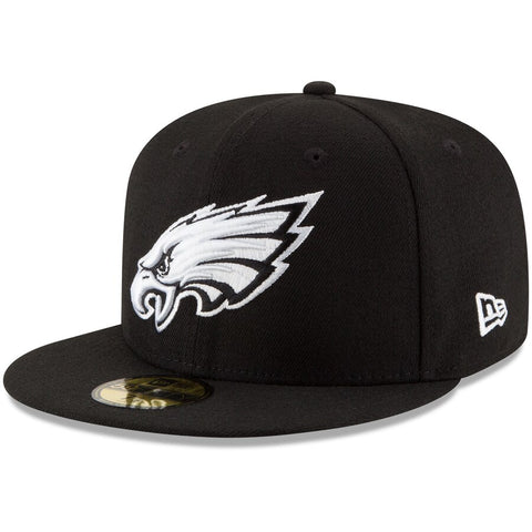 Philadelphia Eagles Fitted New Era 59Fifty Black White B-Dub Cap Hat