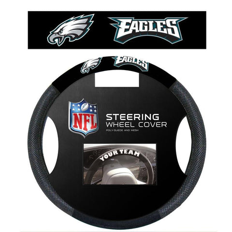 Philadelphia Eagles Black Poly-suede & Mesh Steering Wheel Cover