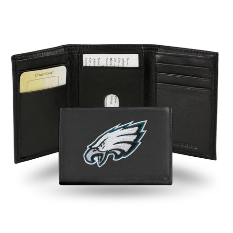 Philadelphia Eagles Mens Embroidered Leather Trifold Wallet