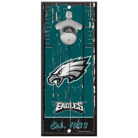 Philadelphia Eagles 5X11 Wood Bottle Opener Sign