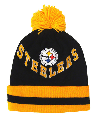 Pittsburgh Steelers Beanie Mitchell & Ness V Question Cuffed Pom Knit Blk Ylw