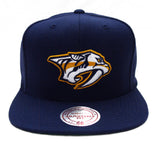 Nashville Predators Snapback Mitchell & Ness Logo Cap Hat Wool All Navy