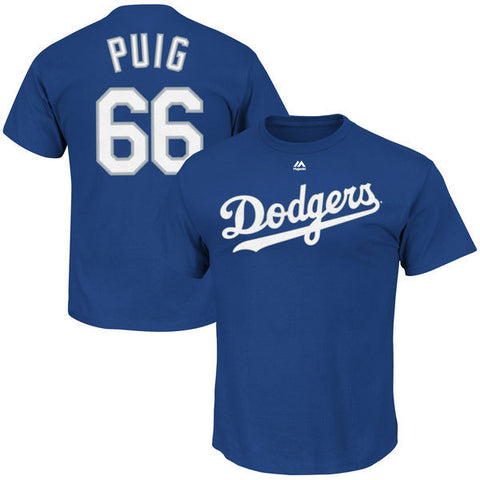 Los Angeles Dodgers Mens T-Shirt #66 Puig Name & Number Blue