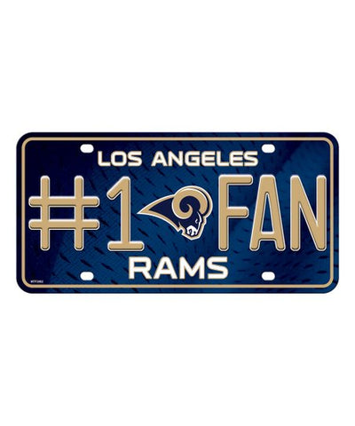 Los Angeles Rams Auto #1 Fan License Metal Plate