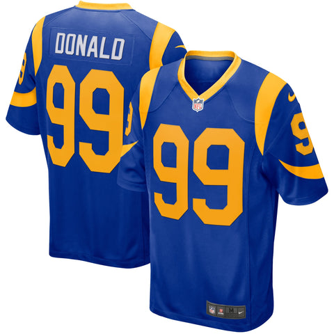 Los Angeles Rams Mens Jersey Nike #99 Aaron Donald Throwback Game Blue Yellow