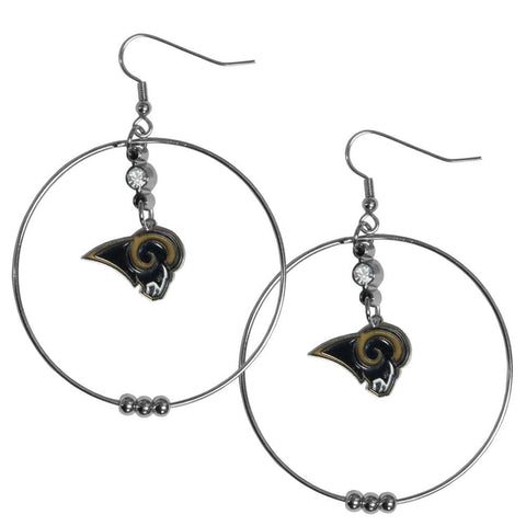 "Los Angeles Rams Earrings 2"" Beaded Hoop Earrings with Charm"