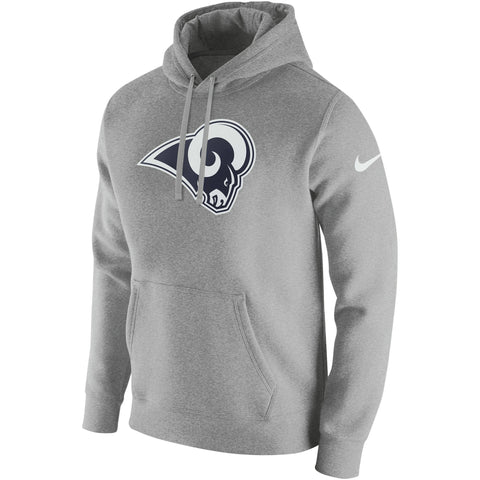 Los Angeles Rams Mens Sweatshirt Nike Club Fleece Hooded Pullover Grey