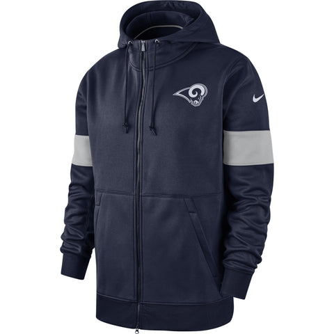 Los Angeles Rams Mens Nike Sideline Performance Full-Zip Hoodie Navy