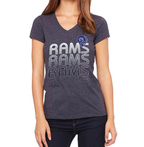 Los Angeles Rams Womens T-Shirt Majestic Repeat Logo V-Neck