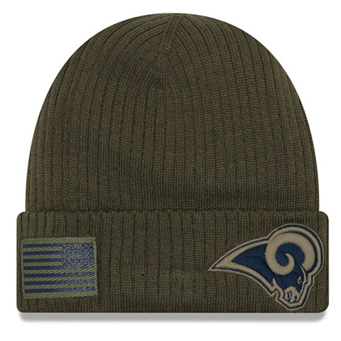 Los Angeles Rams Beanie New Era 2018 Salute To Service Olive Cuffed Knit Hat