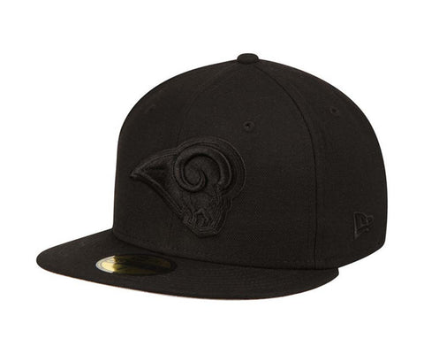 best loved dc007 ef15c Los Angeles Rams Fitted New Era 59Fifty Black on Black Cap Hat