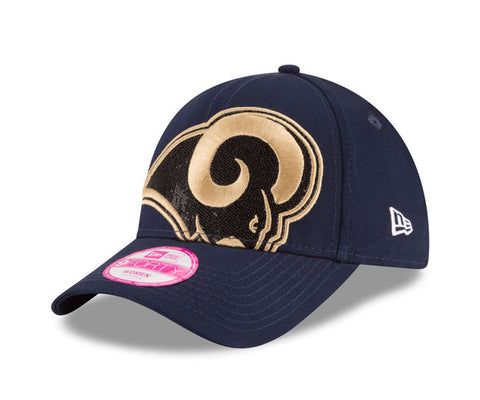 Los Angeles Rams Women's Strapback New Era Glitter Glam Adjustable Cap Hat Navy