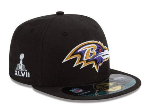 Baltimore Ravens Fitted New Era Super Bowl XLVII On Field Cap Hat Black Size 7