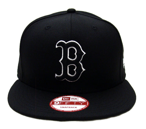 Boston Red Sox New Era Black Logo White Outline Snapback Cap Hat Black