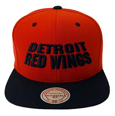 Detroit Red Wings Snapback Mitchell & Ness Monolith Cap Hat Red Black